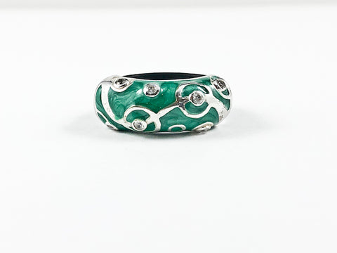 Unique Green Enamel Circular Pattern Design Rubber Band Silver Ring