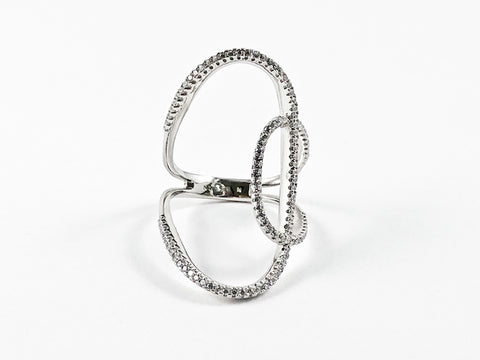 Elegant Thin Open Works Long Design CZ Silver Ring