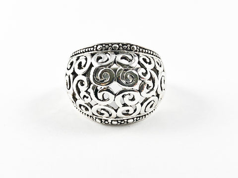 Modern Metallic Swirl Texture Dome Design Silver Ring