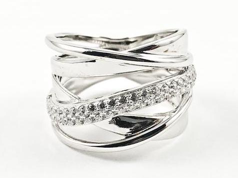 Elegant Unique Twist & Criss Cross Open Pattern CZ Silver Ring