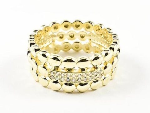 Elegant Textured Round Ball Charm CZ Eternity Gold Tone Silver Band Ring