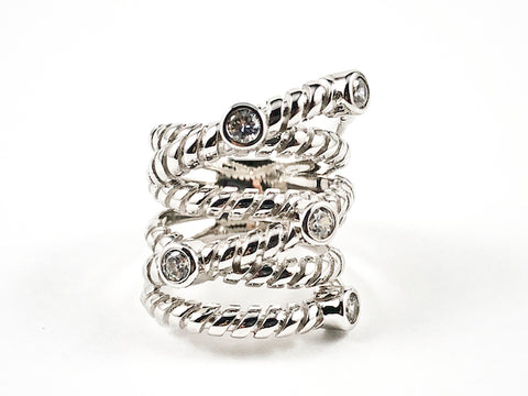 Beautiful Large Textured Multi Layer Pattern With Bezel CZ Silver Ring