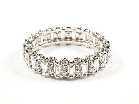 Elegant Rectangular Shape CZ Textured Eternity Silver Band Ring