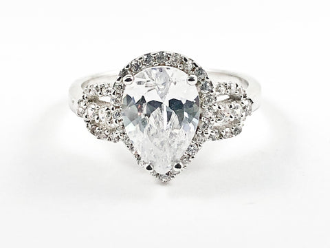 Elegant Center Tear Drop With CZ Frame CZ Sides Silver Ring