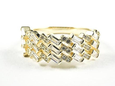 Elegant Unique Wave Slant Fine CZ Setting Pattern Gold Tone Silver Ring
