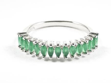 Dainty Thin Multi Marquis Cut Jade Color CZ Silver Ring