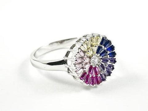 Beautiful Colorful Round Multi Color Baguette CZ Silver Ring