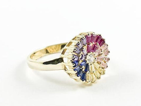 Beautiful Colorful Round Multi Color Baguette CZ Gold Tone Silver Ring
