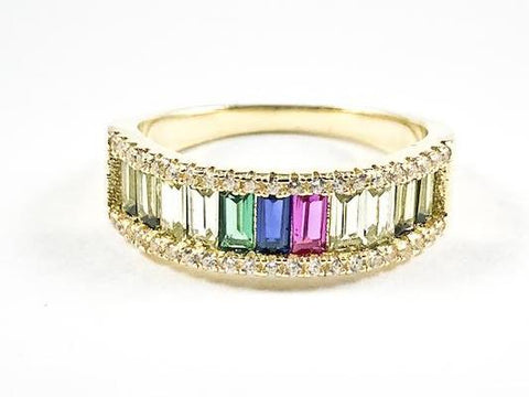 Elegant One Row Colorful Baguette CZ Gold Tone Silver Ring
