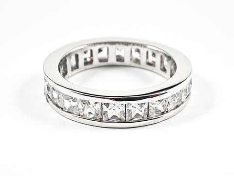 Classic Elegant Square Shape CZ Eternity Silver Band Ring
