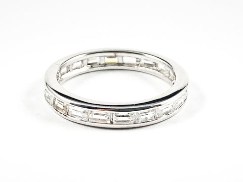 Classic Elegant Baguette Setting CZ Eternity Silver Band Ring