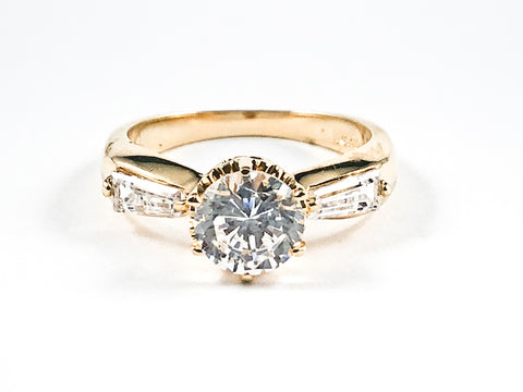Classic Round Center CZ With CZ Sides Gold Tone Silver Rings