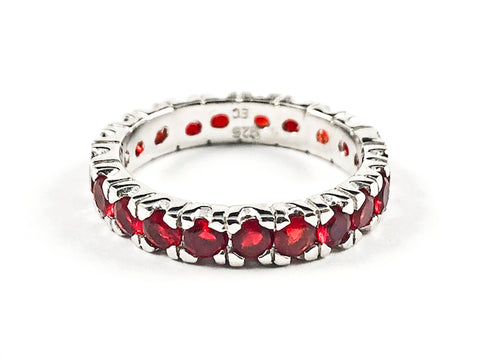 Beautiful Round Shape Red Color CZ Eternity Silver Band Ring