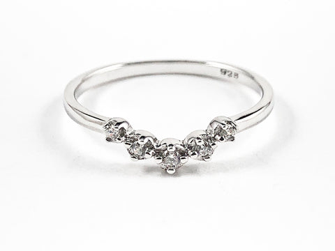 Classic Dainty V Shape Form CZ Silver Band Ring