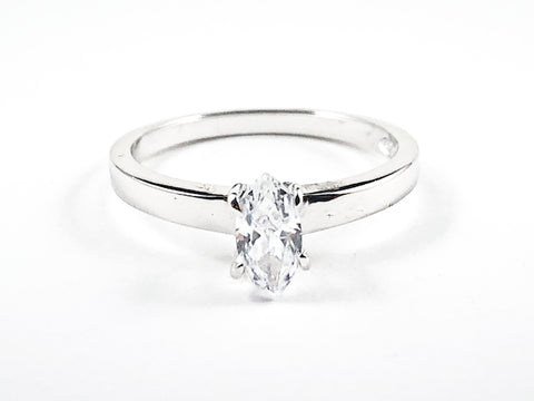 Classic Single Marquise Shape CZ Solitaire Silver Ring