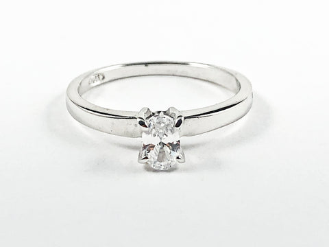 Classic Single Oval Shape CZ Solitaire Silver Ring