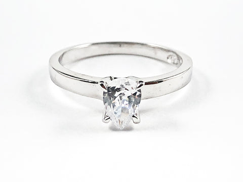 Classic Single Pear Shape CZ Solitaire Silver Ring