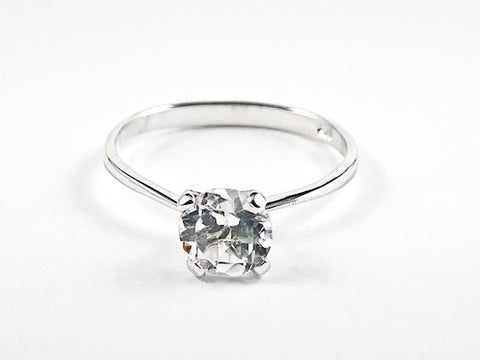 Classic Single Stone Round Center CZ Solitaire Style Silver Ring