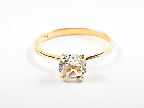 Classic Single Stone Round Center CZ Solitaire Style Gold Tone Silver Ring