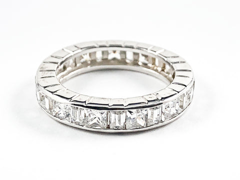 Beautiful Classic Square & Rectangle CZ Eternity Silver Band Ring