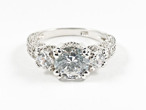 Classic Textured CZ Sides Round Center CZ Silver Ring