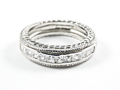 Beautiful Textured Top Bottom Middle CZ Row Silver Tone Silver Band Ring
