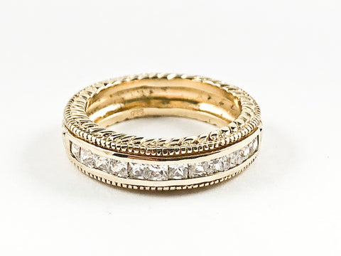 Beautiful Textured Top Bottom Middle CZ Row Gold Tone Silver Band Ring