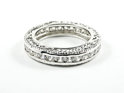 Beautiful Textured Top & Bottom Filigree Design Eternity CZ Silver Tone Silver Ring Band