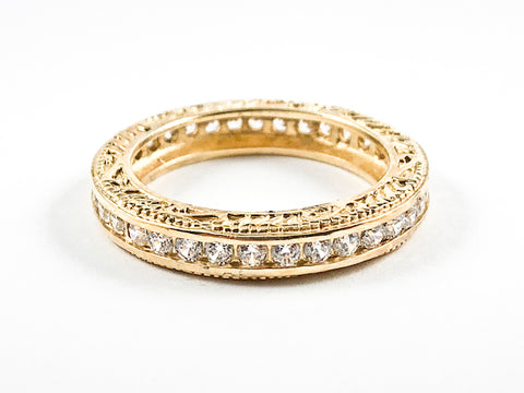 Beautiful Textured Top & Bottom Filigree Design Eternity CZ Gold Tone Silver Ring Band