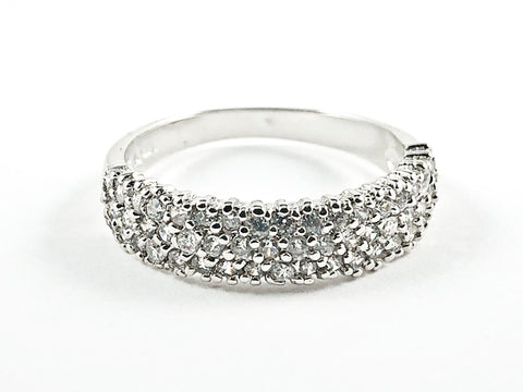 Classic Single Row Textured CZ Style Silver Ring