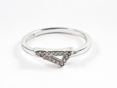 Cute Dainty Triangle Shape Center CZ Design Silver Ring