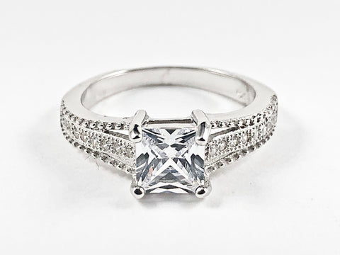 Elegant Classic Center Square CZ With CZ Sides Silver Ring