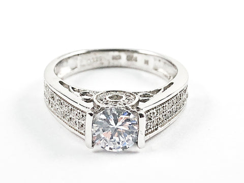 Beautiful Round Center CZ With Pave Sides Silver Ring