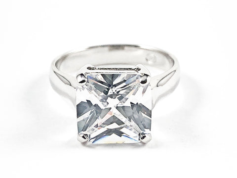 Classic Single Center Square Shape CZ Silver Ring