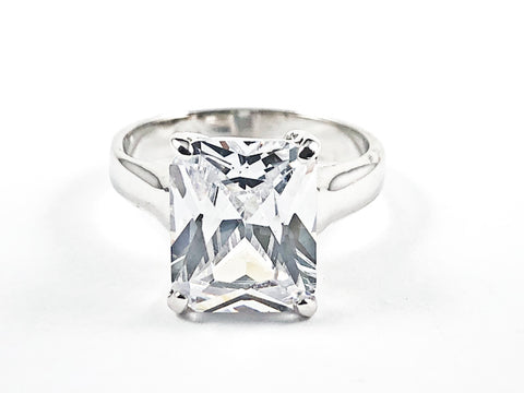 Classic Single Center Rectangle Shape CZ Silver Ring