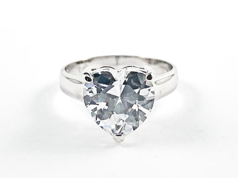 Classic Single Center Heart Shape CZ Silver Ring