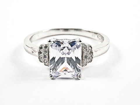 Classic Elegant Rectangle Center CZ Trillion Style Design Silver Ring
