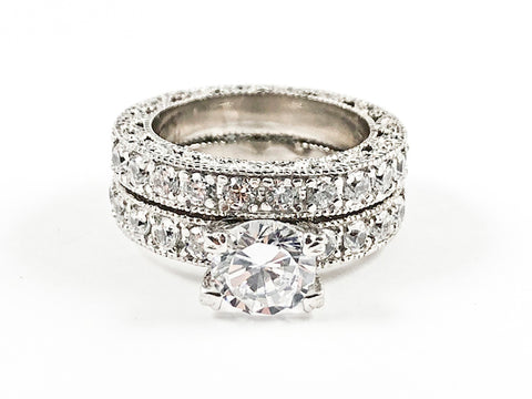 Classic Antique Style 2 Piece Set Textured Band Center Crown CZ Setting Silver Ring