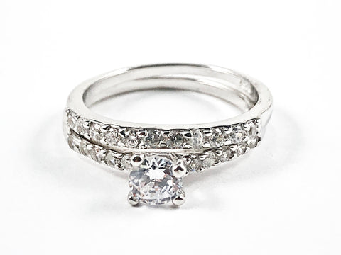 Classic Simple 2 Piece Set CZ Setting With Center Crown CZ Silver Ring