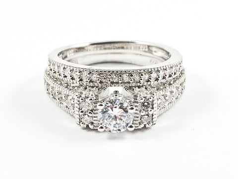 Classic Beautiful 2 Piece Set Textured CZ Setting Center Round Crown Setting Silver Ring