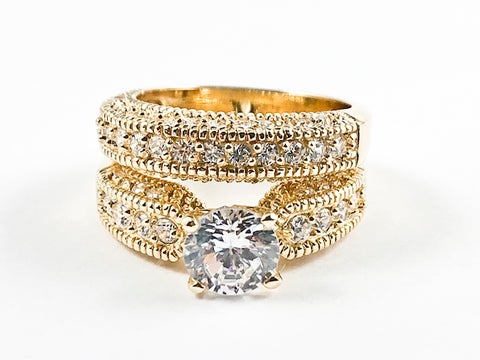 Beautiful Classic 2 Piece Set Textured CZ Setting Center Crown Setting Gold Tone Silver Ring