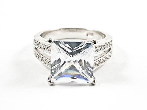 Beautiful Center Detailed Square Shape CZ With Double CZ Row Sides Silver Ring