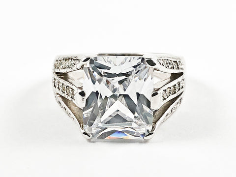 Beautiful Center Detailed Rectangle Shape CZ With Multi CZ Row Sides Silver Ring