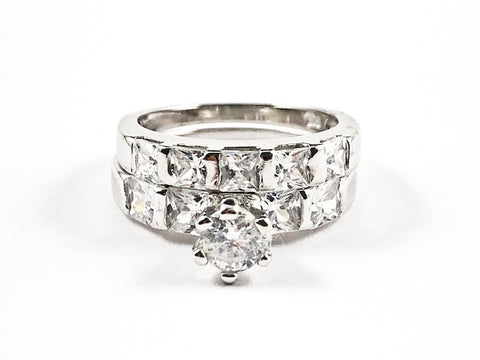 Beautiful 2 Piece Set Large Rectangle & Round Shape CZ Settings Engagement Style Silver Ring