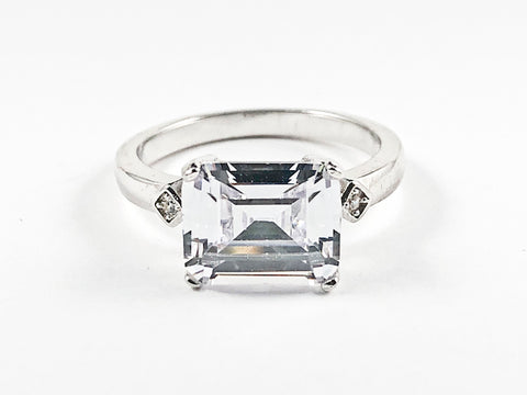 Classic Center Single Rectangle Shape Detailed Cut CZ Silver Ring