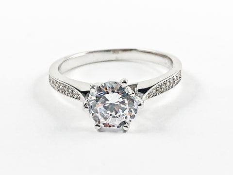 Beautiful Classic Center Round Shape CZ With Elegant CZ Sides Silver Ring