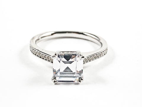 Beautiful Classic Center Square Shape CZ With Elegant CZ Sides Silver Ring