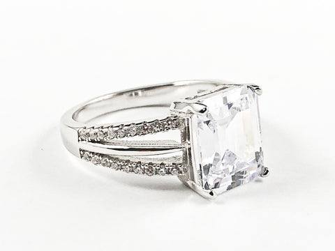 Beautiful Classic Center Rectangle Shape CZ With Elegant Open CZ Sides Silver Ring