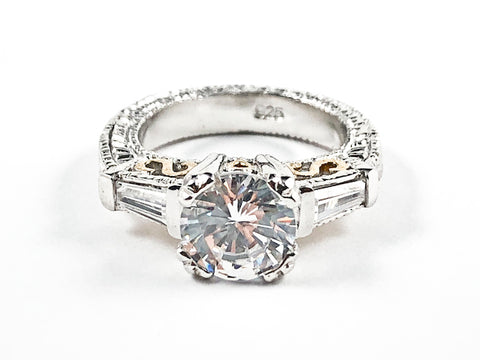 Elegant Classic Large Trillion Style Crown Setting CZ Two Tone Filigree Silver Ring