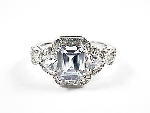 Elegant Classic Rectangle Detailed Trillion Cut Center CZ Engagement Style Silver Ring